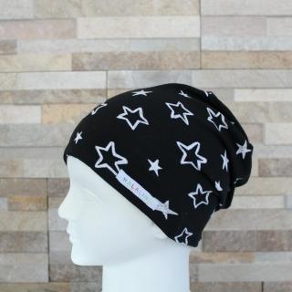 Babymütze / Beanie aus Jersey / Mütze /  Sterne schwarz, weiß / Halalino