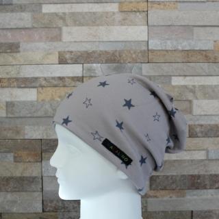 Babymütze / Beanie aus Jersey / Mütze /  Sterne taupe, grau / Halalino