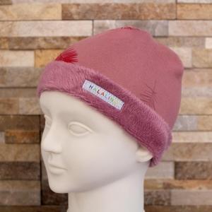 Wintermütze innen mit Fleece, in rosa mit Federn / HALALINO