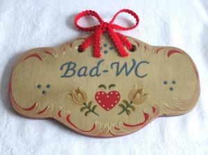 Türschild aus Holz, mit Wunschbeschriftung, handbemalt im Bauernmalerei- und Landhaus-Stil -Deutsche Handarbeit-   ***Versandkostenfrei***
