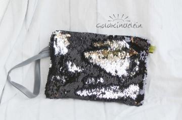 ★ elegant-edle Abend-Tasche schwarz-silber grau ★