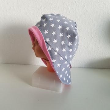 Jersey Sonnenhut für Kinder und Babys zum Wenden in grau mit weißen Sternen und rosa