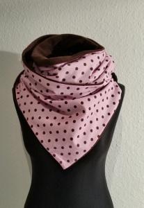 ♥ kuscheliger Winterschal in rosa mit braunen Punkten♥  mit Knopfverschluß