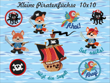 Kleine Piratenfüchse Stickdateien Set 10cm x 10cm