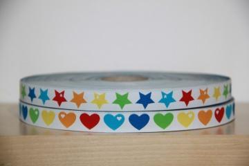 1m Webband Regenbogen (1,65€/m) Herzen, Sterne, bunt
