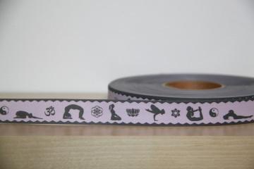 1m Webband Yoga Asana, Lotusblüte, Yin und Yang, Ohm, rosa, grau, 20mm breit