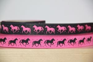 1m Webband Pferde (2,49€/m) Pferd, schwarz, pink, beidseitig verwendbar