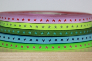 3m Webband Sternchen (0,99€/m) schmal, rosa-rot., neongelb-silber, moosgrün-türkis, blau-dunkelblau