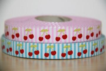1m Webband Kirschen (2,95€/m) Franca Tack,  gestreift, blau, rot, pink,