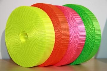 2m NEON-Gurtband (1,45€/m) 25mm breit, neon-gelb, neon-orange, neon-pink, neon-grün