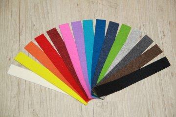 5 Wollfilzstreifen freie Farbwahl, wollweiß, grellgelb, orange, knallrot, rot-meliert, pink, lila, türkis, blau, blau-meliert, grün, hellgrau, dunkelgrau, braun, schwarz