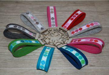 Schlüsselanhänger Klee, Kleeblatt, Glücksklee, grau, rosa, mint