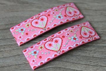 Haarspangenset 2 Stück Haarspangen Flower Love Herzchen rosa