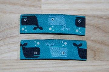 Haarspangenset 2 Stück Haarspangen Wal, Wale, hellblau, dunkelblau