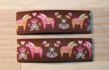 Haarspangenset 2 Stück Haarspangen Dala Pferd braun pink