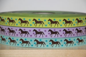 1m Webband Pferde (1.95€/m) Pferd, grün, lila, türkis
