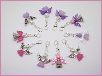 10 pinke & lilane gemischte Perlenengel mit Karabinerhaken, handmade, Schutzengel, Anhänger