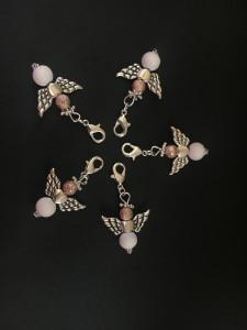 5 stylische Perlenengel mit Karabinerhaken, handmade, Schutzengel, Anhänger