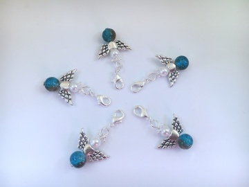 5 Glas Perlenengel mit Karabinerhaken, handmade, Schutzengel, Anhänger