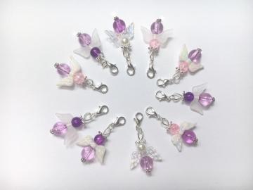 10 lila gemischte Perlenengel mit Karabinerhaken, handmade, Schutzengel, Anhänger