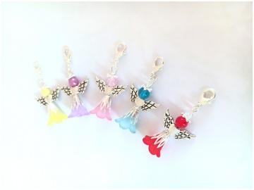 5 große Bunt gemischte Perlenengel mit Karabinerhaken, handmade, Schutzengel, Anhänger, Engel