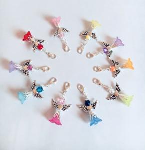 ♥ 10 große Bunt gemischte Perlenengel mit Karabinerhaken, handmade, Schutzengel, Anhänger♥