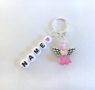 ☆ Wunschname Schlüsselanhänger, Perlenengel, Schutzengel, Geschenk, Farbauswahl ☆