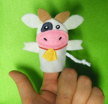 Fingerpuppe Kuh - Handarbeit kaufen