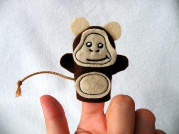 Fingerpuppe Affe - Handarbeit kaufen
