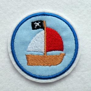 Button Aufnäher Piratenschiff