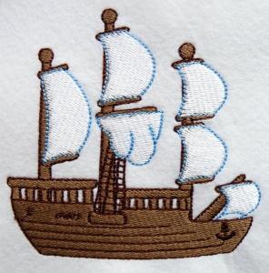 gestickter Aufnäher Stickerei Stickbild Schiff  - Handarbeit kaufen
