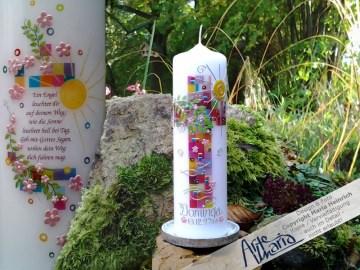Taufkerze Lebensbaum Mosaik Taufe Kerze Taufspruch DOMINGA