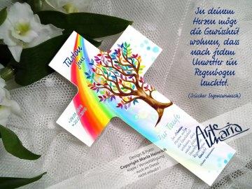 Taufkreuz TILSTON© Kinderkreuz Holzkreuz TAUFE Lebensbaum Zauberbaum Regenbogen