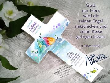 Taufkreuz SOLVEIGH© Kinderkreuz Holzkreuz TAUFE Regenbogenfisch Sonnenfisch (Kopie id: 32375)