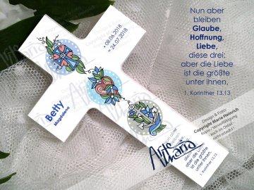 Taufkreuz BETTY© Kinderkreuz Holzkreuz TAUFE Glaube Liebe Hoffnung