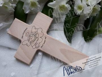 Taufkreuz Schutzengel 1© DIY Kinderkreuz Holzkreuz TAUFE Schutzengel