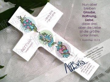 Taufkreuz BETTINA© Kinderkreuz Holzkreuz TAUFE Glaube Liebe Hoffnung