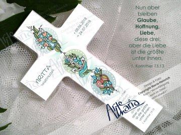 Taufkreuz BRITTA© Kinderkreuz Holzkreuz TAUFE Glaube Liebe Hoffnung