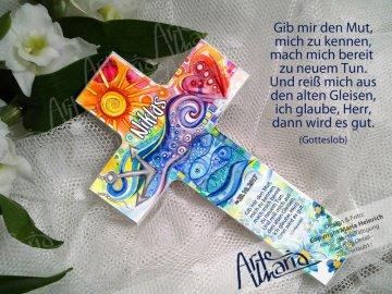 Taufkreuz NIKLAS © Kinderkreuz Holzkreuz TAUFE Herz Anker Fisch Blumen