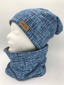 BLUE STRIPES Beanie mit passendem Loop