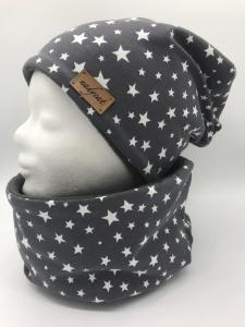 GREY & WHITE STARS Beanie mit passendem Loop