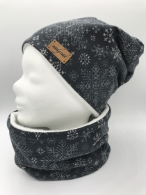 SCHNEEFLOCKE Beanie mit passendem Loop, Winter Set