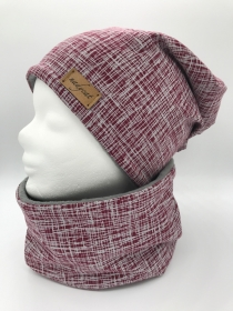 BURGUND STRIPES Beanie mit passendem Loop, Winter Set