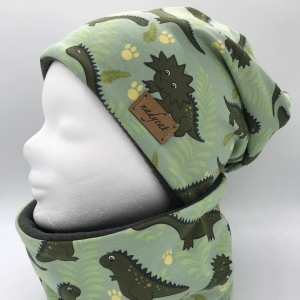 DINO Beanie mit passendem Loop, Winter Set