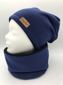BLUE UNI Beanie mit passendem Loop, Winter Set
