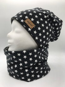 DARKGREY & LITTLE STARS Beanie mit passendem Loop, Winter Set