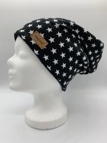 BLACK & LITTLE white STARS Beanie, Winter Mütze, Übergangs Mütze