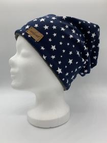 WHITE STARS & GREY Beanie, Winter Mütze, Übergangs Mütze