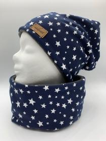 WHITE STARS & BLUE Beanie mit passendem Loop, Winter Set, Übergangs Set