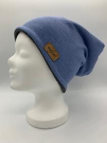 Blau meliert UNI Beanie, Winter Mütze, Übergangs Mütze